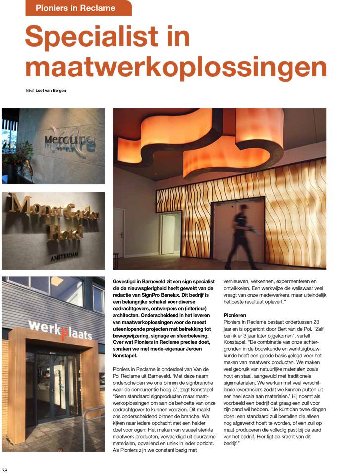Pioniers in Reclame: Artikel in de SignPro Benelux SPB nr1 2019 online pagina38