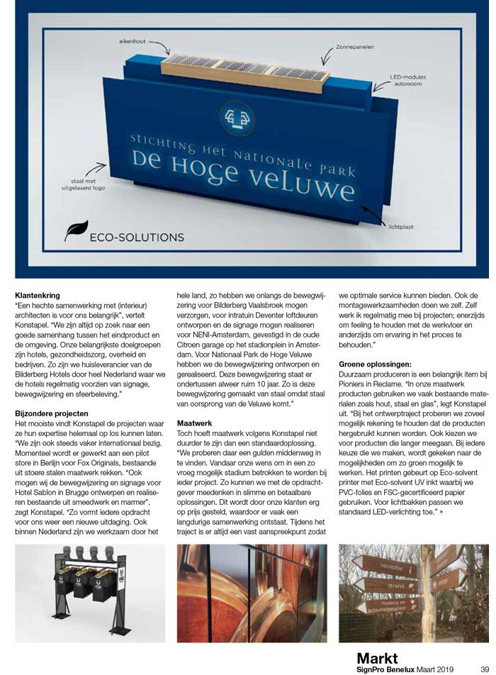 Pioniers in Reclame: Artikel in de SignPro Benelux SPB nr1 2019 online pagina39
